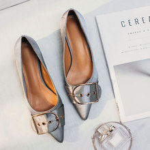 Designer Women Office Career Flats Girls Ballet Shoes Woman Pointed Toe Satin Ballerinas Buckle Shoes For Women Work Shoes 2017