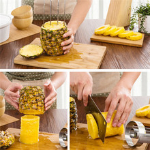 Stainless Steel Fruit Pineapple Slicer Peeler Cutter Kitchen Fruit Tool Pineapple Peeler Easy Slicer Cut Device PC880518(China)