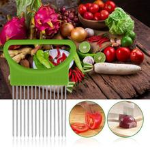 Stainless Steel Tomato Onion Vegetables Slicer Cutting Aid Holder Guide Slicing Cutter Safe Metal Fork Gadget Kitchen Tools(China)