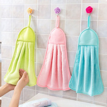 Free Shipping 2017 Brand New Coral Fleece Bathroom Towels Hung Clean Kitchen Towel Absorbent Dishcloth Hanging Hot 32*40 cm