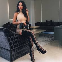 2015 stylish lace-up over the knee boots celebrity wearing sexy open toe thigh high gladiator boots cut-outs high brand boots