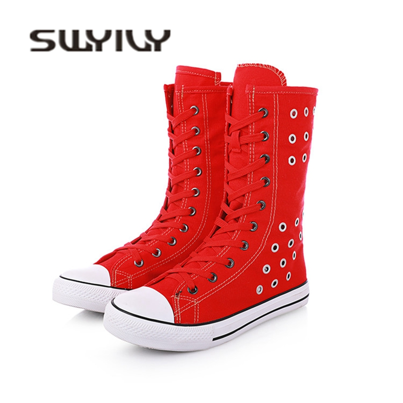 SWYIVY Woman Vulcanize Sneakers High Top Rivet Hallow Breathable 2018 Autumn Female Casual Shoes Zipper 43 Plus Size Sneakers