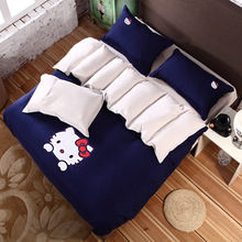Home Textile Bedding Set 100% cotton cartoon Hello Kitty sheets High quality soft adult child bed linen 3/4pcs Duvet cover Sets