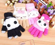 Wholesale 4 Color Cute girls fashion novelty in winter Warm gloves woman's Animal Cartoon cotton Knitting gloves(China)