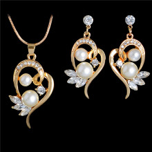 Fashion Simulated Pearl Jewelry Sets for Wedding Cute Flower Stud Earrings Crystal Wings Pendant Necklace Gold Color Chain(China)