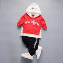2018 New Spring Autumn Cotton Clothes Sets Baby Girls Boys Sports Hooded T Shirt Pants 2pcs Children Kids Casual Clothing Suits(China)