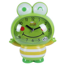 Modern Children Cartons Clock Led Nightlight Snooze Alarm Clock Cube Cat Frog Silent Electronic Battery Alarm Clock Timer Reloj(China)