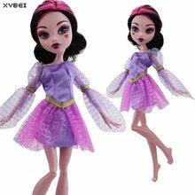 Ручной работы фиолетовый свадебное платье вечерняя мини-платье одежда с длинным рукавом юбка одежда для Monster High Куклы Интимные Аксессуары д...(China)