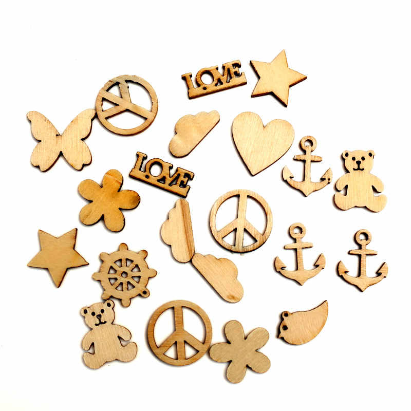 100pcs Natural Mixed Wood Craft Embellishments MDF Wooden Cutout Flatback  Scrapbooking for Cardmaking DIY Wedding Decoration 33d572c3a867