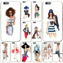 Fashion Sketch Lady Latte mobile phone bag Hard Transparent Case for iPhone 7 7 Plus 6 6s Plus 5 5S SE 5c 4 4S