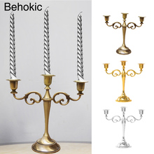 Behokic Antique 3-Arms Silver/Gold/Bronze Metal Candle Holder Stand Candlestick Candelabra for Home Hotel Wedding Party Bar