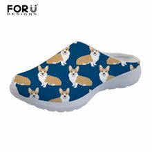 FORUDESIGNS Casual Women Sandals 2018 Summer Shoes Corgi Dog Print Mesh  Breathable Custom Shoes Outdoor Slip 6f9a09bd2634