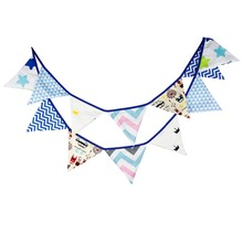 New 12 Flags - 3.2M Cotton Fabric Banners Prince theme Bunting Decor children camping bunting birthday photo garland