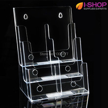 Three Tiers Magazine Display Holder for Tri-fold Literature Leaflet Size Brochure Holder DL Display Stand With Divider PZG-011(China)