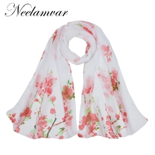 Neelamvar from india promotion 2017 Plum print chiffon scarves thin shawl turban belt hijab fashion arabic scarfs wraps autumn(China)