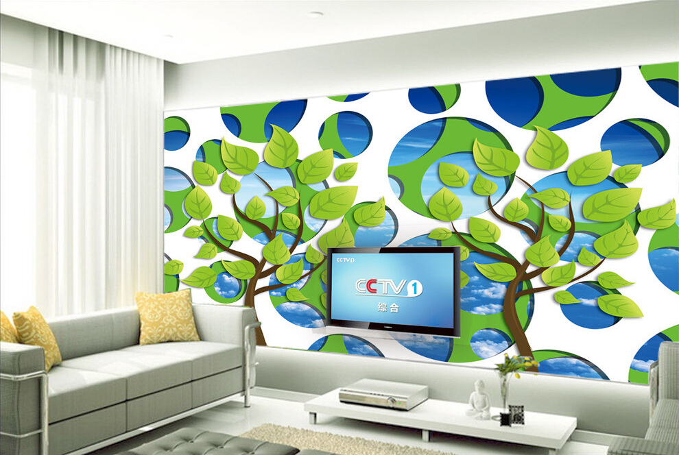 Custom papel DE parede infantil,Simple Green,3D cartoon murals for children room sitting room wall waterproof vinyl wallpaper<br>