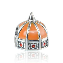 Pandulaso Florence Cathedral Orange Enamel Red Stone Beads Fit Pandora Charms Silver 925 Original Bracelets Women DIY Jewelry