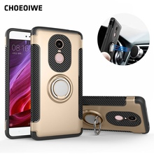 CHOEOIWE Cover Cases for Xiaomi Redmi Note 4 Global Edition Version Case Ring Holder Magnetic Suction Bracket for Car Kickstand