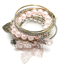 Vintage Hollow Out Heart Charm Bracelet Lace Bangle Bracelet Set Free Shipping