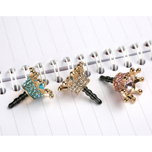 Mini 3.5mm Earphone Jack Crystal Rhinestones Cellphone Charms Audio Headphone Anti Crown Dust Plug Phone 3.5 AUX port Stopper(China)