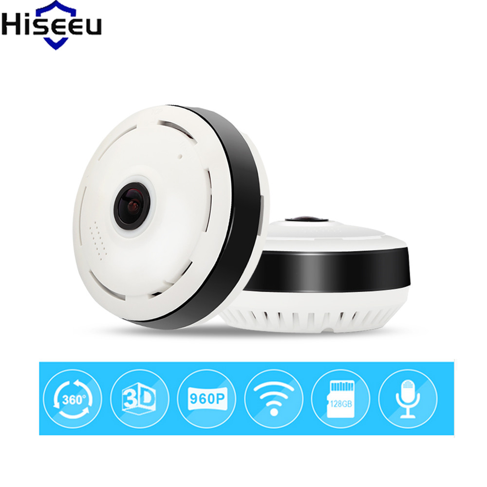 Hiseeu IP Camera Mini CCTV Camera 960P 360 Degree Full View WiFi Camera HD FishEye 1.3MP Home Security Baby Monitor Dropshipping<br>