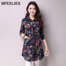 Mferlier Femme Autumn Long Sleeve Blouse Turn Down Collar Single Breasted Floral Print 3 Color Long Womens Shirts(China)