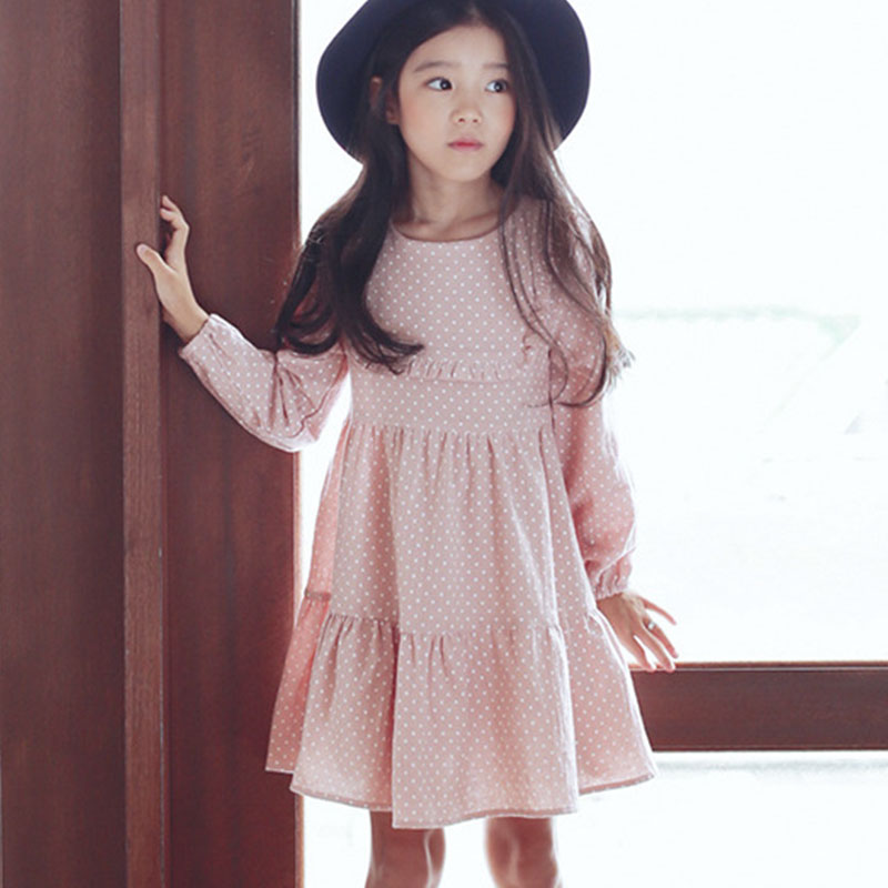 baby big girls spring clothes dot long sleeve rufles summer dress girl 2017 new pink dot school girl dress children clothing<br><br>Aliexpress
