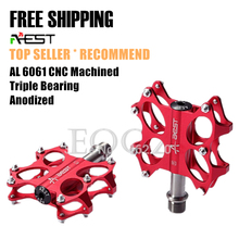Genuine AEST Bike MTB Road Folding Platform Flat Pedals CNC Titanium Spindle Ti Axle / Steel Axle