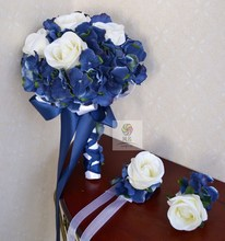 Handmade wedding flower artificial flower silk flower bride holding flowers blue and white