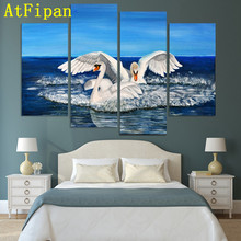 AtFipan High Quality Two Swans Modular Pictures New Fashion Animal Canvas Painting On The Wall Pictures For Living Room Unframed(China)