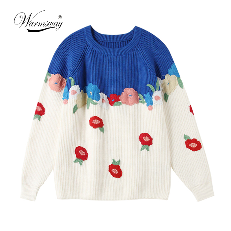 Multicolour Embroidery floral wool knitted sweater Women casual winter pullover Autumn elegant streetwear jumper  C-289
