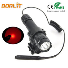 BORUIT 501B 3W 600LM XPE LED Flashlight Red Light Mini Torch Portable Hunting Light+Gun Mount+Remote Control Switch Flash Lamp