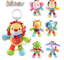 7pcs/lot Jollybaby cute Baby toy soft plush hanging toy Development Infant children Rattle Ring  Crib Bed Hanging Animal Toy