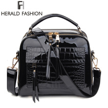 Herald Fashion Women Patent Leather Handbags Crocodile Design Shopper Tote Bag Female Luxurious Shoulder Bags(China)