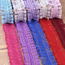 2017 New Organza Ruffle African Lace Fabric Trim 45mm Width 5yards/lot Diy Accessory Clothing Applique Wedding Party Decoration