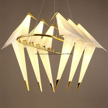 Modern 6 Arms Circle Cranes Pendant Light Lamp Bedroom White Birds LED Ceiling Fixtures Lighting