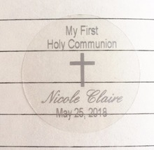 My 1st first holy communion silver cross personalized invitation card seals gifts favors stickers tags