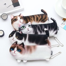 Hot Sale 3D plush Simulate cat face Makeup Cosmetic Case Pen Pencil stationery bag Storage Bag Zipper Coin Pouch Purse Cute(China)
