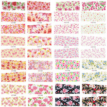 40pcs Water Transfer Printing Beauty Flower Designs Stylish Nail Art Stickers Decals on nails tips Beauty Decorations LANC082(China)