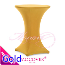 Gold colour colour table cover cocktail table cloth lycra high bar table linen wedding party hotel table decoration on sale