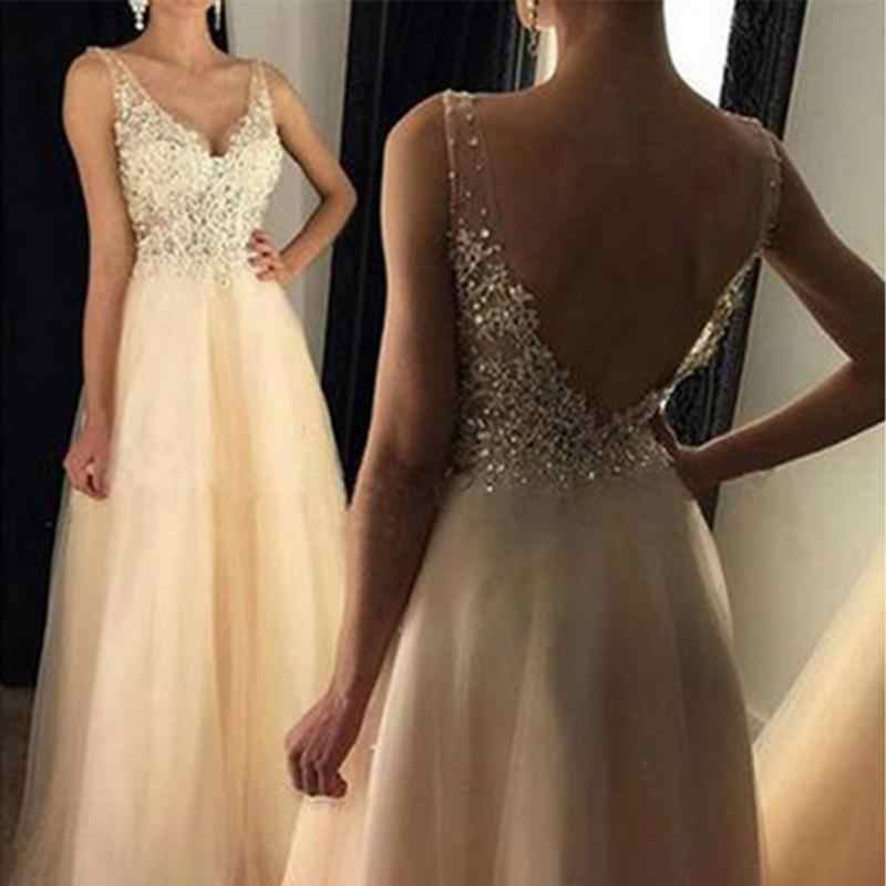Women Lace Ladies Gold Sequins Sleeveless Dress Tulle Lace Princess Long Gown  Prom Bride Dress  38b02dc24d18