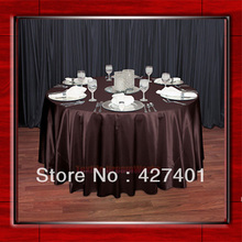 "Hot Sale Brown 54"" round shaped poly satin table cloth/Tablecloths/Table overlay for wedding party decorating(China)"