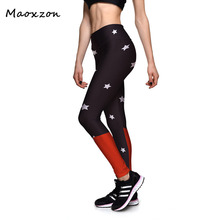 Buy Maoxzon Womens Star Print Slim Fitness Leggings Female 2017 New Summer Casual Workout Active High waist Elastic Skinny Pants for $10.39 in AliExpress store