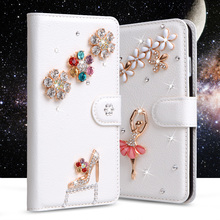 Luxury 3D fashion Wallet Rhinestone PU Leather Cover For LG X Cam K580 K580DS 5.2 Phone Cases Stand Flip with Card Slots