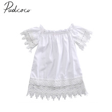 pudcoco 2017 short sleeve pullover fashion Toddler Kids Baby Girls Clothes Lace Top Dress Party Gown Formal Dress Sundress 0-5Y(China)