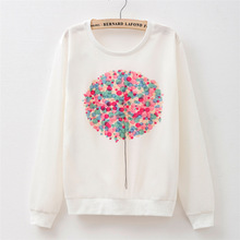 MITTELMEER New winter Harajuku printed Sweatshirt o-neck printing Cartoon Flowers balloons Sweatshirt tops for women