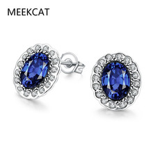 MEEKCAT Princess Diana Earrings 1.5 Ct Oval Blue Sapphire and Zirconia White Gold Color Women's Stud Earrings Boucle d'oreille