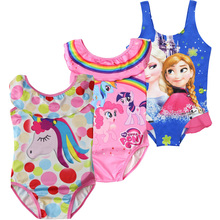 New Unicorn dress little baby girls biquini Kids girls swimsuit kid swimming Bathing Suit Swim Wear Children Girl elsa Bikini