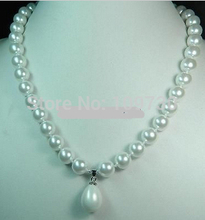 Jewelr 004100 Beautiful AAA Charming 12mm White Sea Shell Pearl Drop Necklace(China)