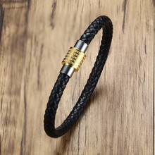 Stainless Steel Stud Magnetic Buckle Engraving Lord's Prayer Braided Leather Bracelet for Men Cuff Bangle Wristband Male Jewelry(China)